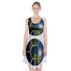 Hexagon Diamond Earth Globe Racerback Midi Dress by Onesevenart