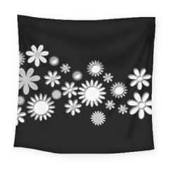 Flower Power Flowers Ornament Square Tapestry (large) by Onesevenart