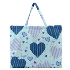Hearts Pattern Paper Wallpaper Zipper Large Tote Bag by Onesevenart