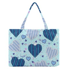 Hearts Pattern Paper Wallpaper Medium Zipper Tote Bag by Onesevenart