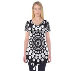 Mandala Geometric Symbol Pattern Short Sleeve Tunic  by Onesevenart