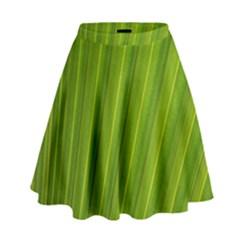 Green Leaf Pattern Plant High Waist Skirt by Onesevenart