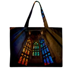 Leopard Barcelona Stained Glass Colorful Glass Zipper Mini Tote Bag by Onesevenart