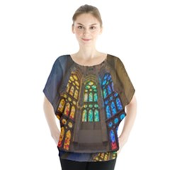 Leopard Barcelona Stained Glass Colorful Glass Blouse by Onesevenart