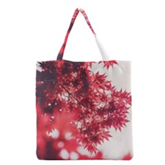 Maple Leaves Red Autumn Fall Grocery Tote Bag by Onesevenart