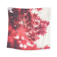Maple Leaves Red Autumn Fall Square Tapestry (small) by Onesevenart