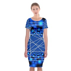 Network Connection Structure Knot Classic Short Sleeve Midi Dress by Onesevenart