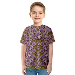 Gold Plates With Magic Flowers Raining Down Kids  Sport Mesh Tee by pepitasart