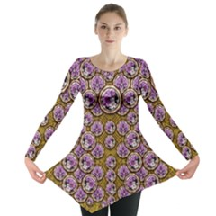 Gold Plates With Magic Flowers Raining Down Long Sleeve Tunic  by pepitasart