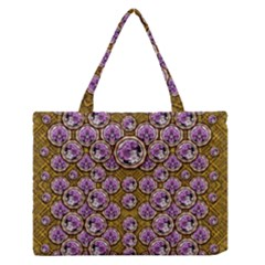 Gold Plates With Magic Flowers Raining Down Medium Zipper Tote Bag by pepitasart