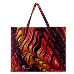 Fractal Mathematics Abstract Zipper Large Tote Bag by Onesevenart