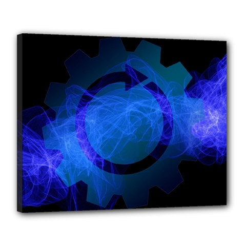 Particles Gear Circuit District Canvas 20  X 16  by Onesevenart