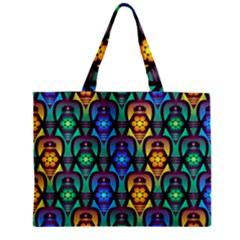 Pattern Background Bright Blue Zipper Mini Tote Bag by Onesevenart