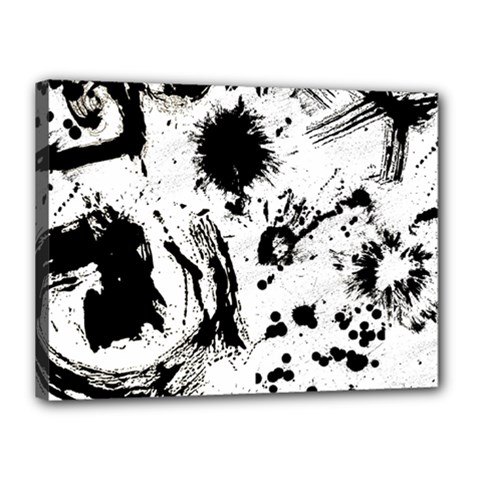 Pattern Color Painting Dab Black Canvas 16  X 12  by Onesevenart