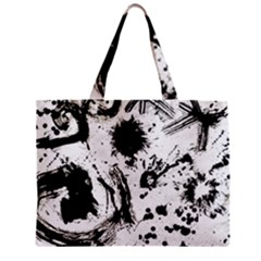 Pattern Color Painting Dab Black Zipper Mini Tote Bag by Onesevenart