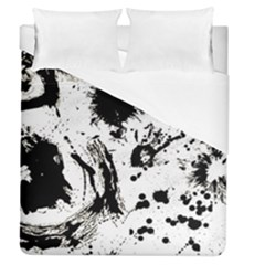 Pattern Color Painting Dab Black Duvet Cover (queen Size) by Onesevenart