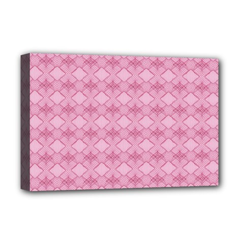 Pattern Pink Grid Pattern Deluxe Canvas 18  X 12   by Onesevenart