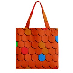 Roof Brick Colorful Red Roofing Zipper Grocery Tote Bag by Onesevenart