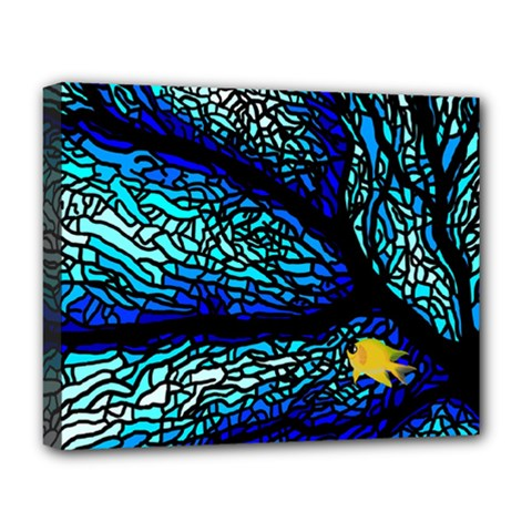 Sea Fans Diving Coral Stained Glass Deluxe Canvas 20  X 16   by Onesevenart