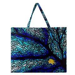Sea Fans Diving Coral Stained Glass Zipper Large Tote Bag by Onesevenart