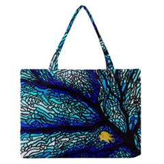 Sea Fans Diving Coral Stained Glass Medium Zipper Tote Bag by Onesevenart