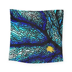 Sea Fans Diving Coral Stained Glass Square Tapestry (small) by Onesevenart