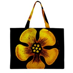 Yellow Flower Stained Glass Colorful Glass Zipper Mini Tote Bag by Onesevenart