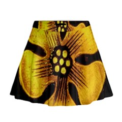 Yellow Flower Stained Glass Colorful Glass Mini Flare Skirt by Onesevenart