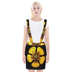 Yellow Flower Stained Glass Colorful Glass Suspender Skirt by Onesevenart