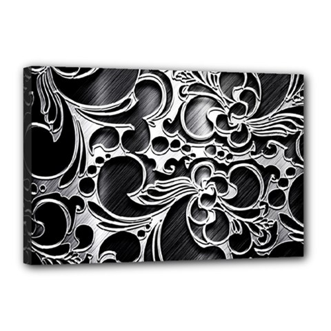 Floral High Contrast Pattern Canvas 18  x 12  by Onesevenart