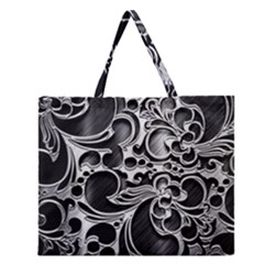 Floral High Contrast Pattern Zipper Large Tote Bag by Onesevenart