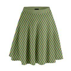 Mardi Gras Checker Boards High Waist Skirt by PhotoNOLA