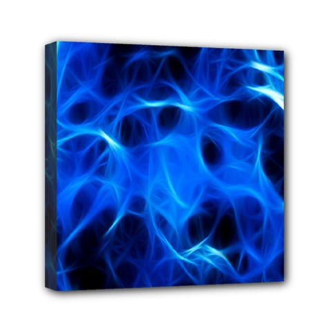 Blue Flame Light Black Mini Canvas 6  X 6  by Alisyart