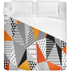 Contrast Hero Triangle Plaid Circle Wave Chevron Orange White Black Line Duvet Cover (king Size) by Alisyart