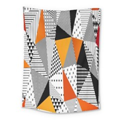 Contrast Hero Triangle Plaid Circle Wave Chevron Orange White Black Line Medium Tapestry by Alisyart