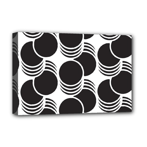Floral Geometric Circle Black White Hole Deluxe Canvas 18  X 12   by Alisyart