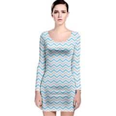 Free Plushie Wave Chevron Blue Grey Gray Long Sleeve Bodycon Dress by Alisyart