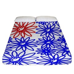 Flower Floral Smile Face Red Blue Sunflower Fitted Sheet (king Size) by Alisyart