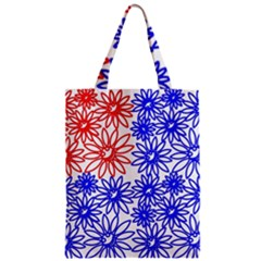 Flower Floral Smile Face Red Blue Sunflower Zipper Classic Tote Bag by Alisyart