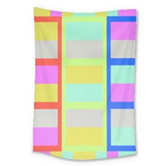 Maximum Color Rainbow Red Blue Yellow Grey Pink Plaid Flag Large Tapestry by Alisyart
