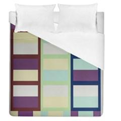 Maximum Color Rainbow Brown Blue Purple Grey Plaid Flag Duvet Cover (queen Size) by Alisyart