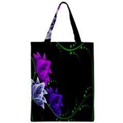 Neon Flowers Floral Rose Light Green Purple White Pink Sexy Zipper Classic Tote Bag by Alisyart