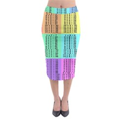 Multiplication Printable Table Color Rainbow Midi Pencil Skirt by Alisyart