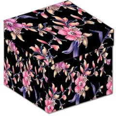 Neon Flowers Rose Sunflower Pink Purple Black Storage Stool 12   by Alisyart