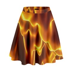 Sea Fire Orange Yellow Gold Wave Waves High Waist Skirt by Alisyart