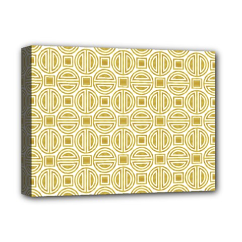 Gold Geometric Plaid Circle Deluxe Canvas 16  X 12   by Alisyart
