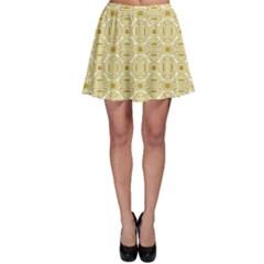 Gold Geometric Plaid Circle Skater Skirt