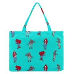 Hotline Bling Blue Background Medium Zipper Tote Bag by Onesevenart