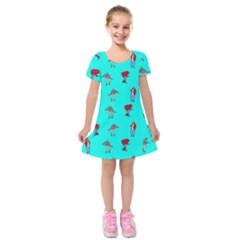 Hotline Bling Blue Background Kids  Short Sleeve Velvet Dress by Onesevenart