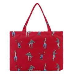 Hotline Bling Red Background Medium Tote Bag by Onesevenart